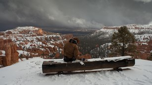 A visitor sits on a snowy bench before a wide canyon scene