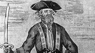 Engraving of Blackbeard the pirate