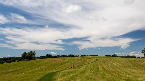 A grassy field with a long winding trail and blue sky.