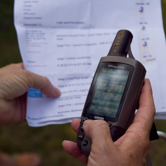 GPS device and chart used for geocaching.
