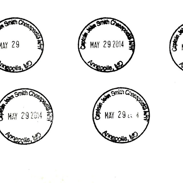 Paper stamped with the trail's passport cancellation stamp.
