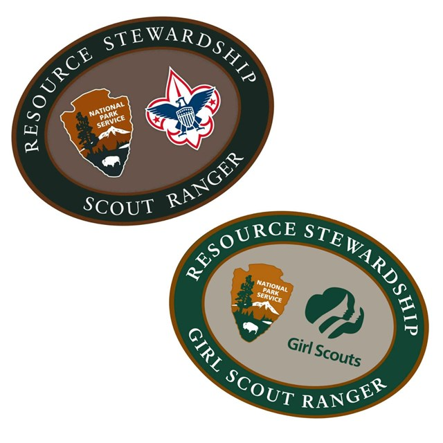 Boy Scout and Girl Scout Resource Stewardship patches.