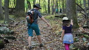 Image of children hiking on a trail