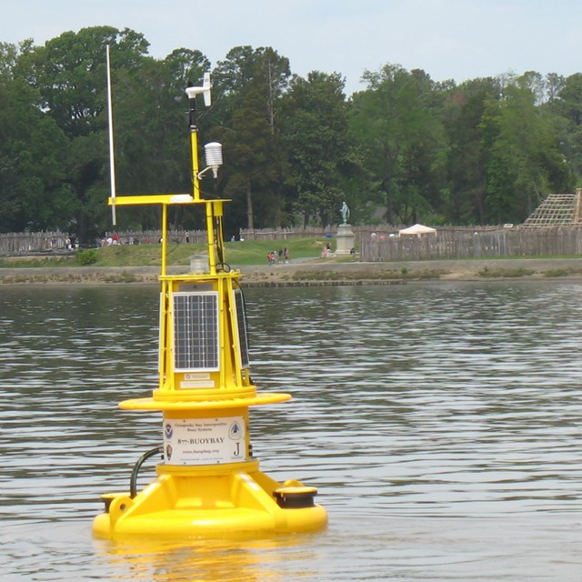 Bright yellow instrument in the water that can relay data of water conditions