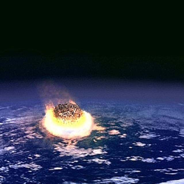 Asteroid flaming and falling to Earth