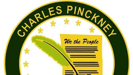 Charles Pinckney National Historic Site Graphic Logo of quill pen and Constitution