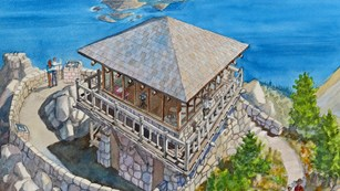 An artist's rendition of the historic Watchman fire lookout.