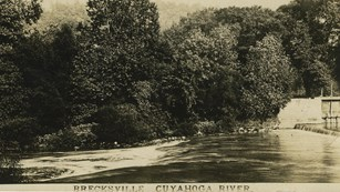 A postcard, circa 1925, of the Cuyahoga River in Brecksville shows the Pinery Dam on right.