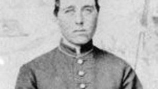 Black and white portrait of civil war era soldier