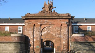 Ornate red-brick Entrance to Fort Jay at Governors Island National Monument.