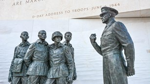 Statue of General Dwight D. Eisenhower talking to troops