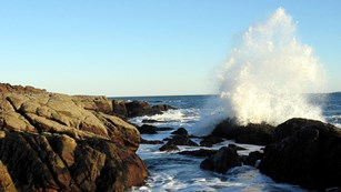 Wave crashing on rocky shoreline