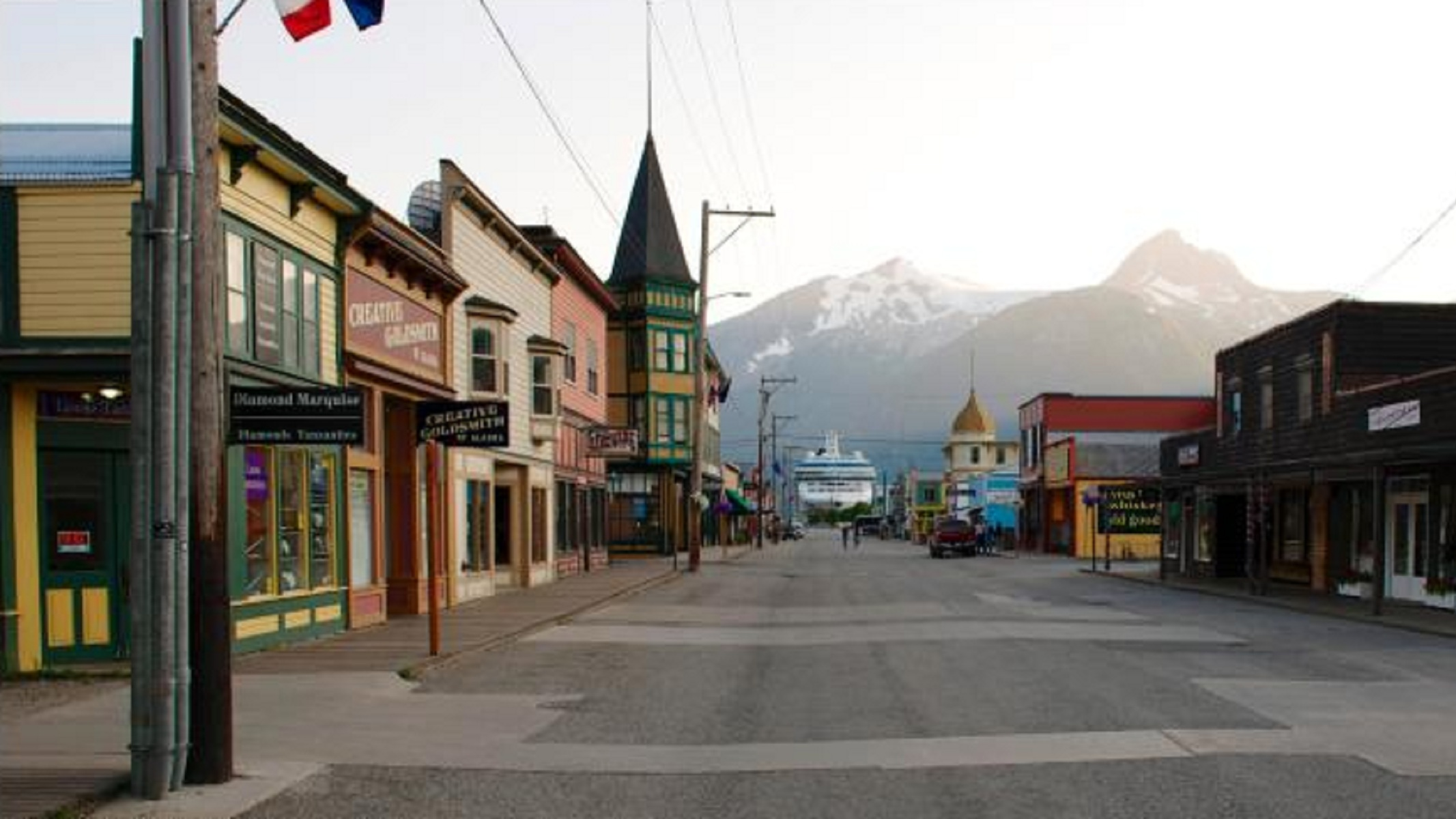 Street view of downtown Skagway, Alaska