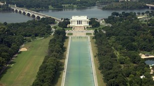 Aerial view of the Lincoln Memorial and Reflecting Pool