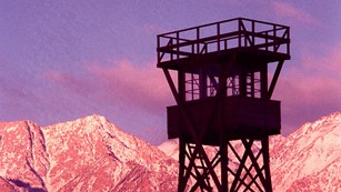 Guard tower at sunset