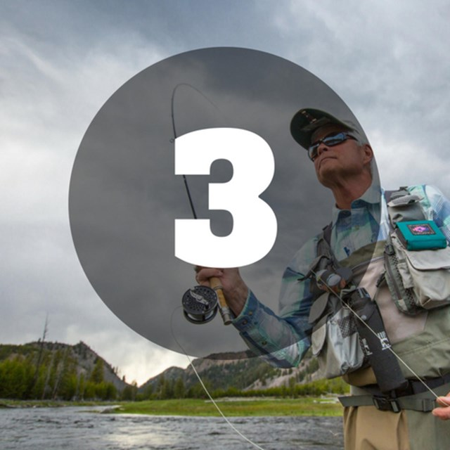 Man fly casting into river with number 3 overlaid on top
