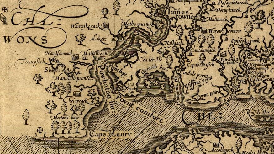 Historic map of Jamestowne in 1624
