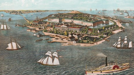 A color illustration depicts Fort Monroe surrounded by water and a number of sail and steam boats.