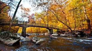 Bridge over a creek in woods turned fall colors