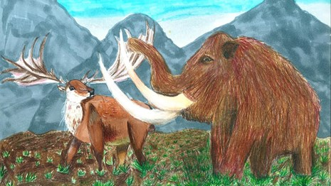 mammoth and elk-like mammal with antlers in alpine landscape