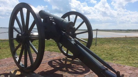 Mountain howitzer on Fort Sumter observation deck
