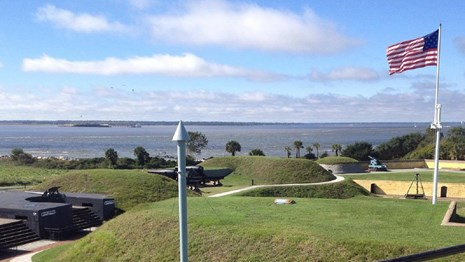 inside of Fort Moultrie facing harbor entrance