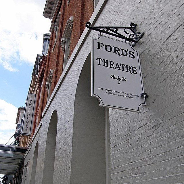 Fords sign hanging in front of today's theatre.