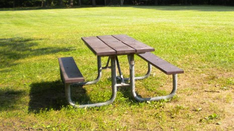 picnic table in one of the group picnic areas