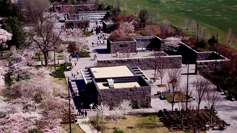 Aerial view of Franklin Delano Roosevelt Memorial