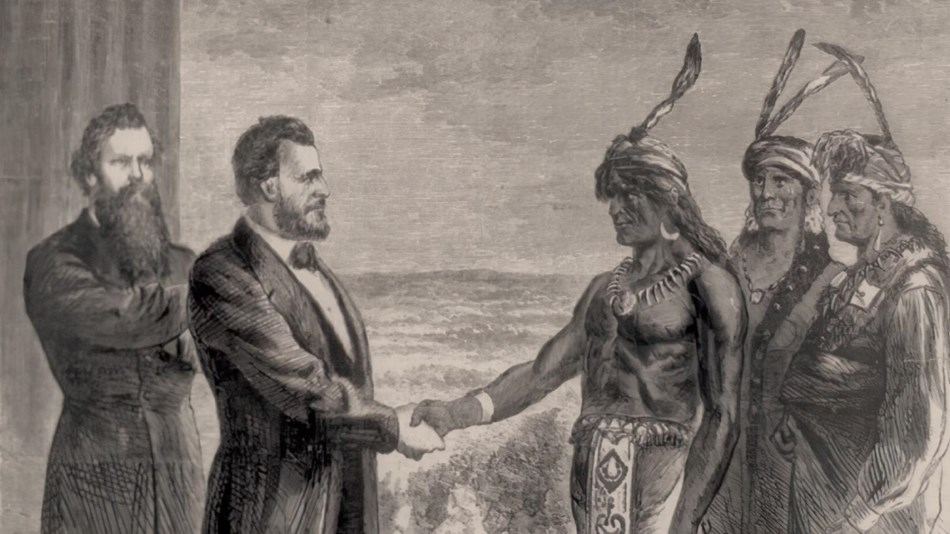Black and White Lithograph of US Grant and Aide shaking hands with Native Americans