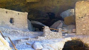 View of dwelling rooms at Gila Cliff Dwellings