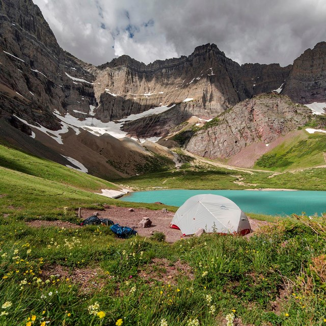 Backcountry Site at Cracker Lake with Tent