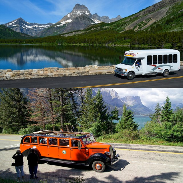 Red bus tour near WIld Goose Island overlook and Sun Tour in Many Glacier