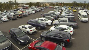 Crowded Parking Lot 2 reaching capacity at Grand Canyon Visitor Center
