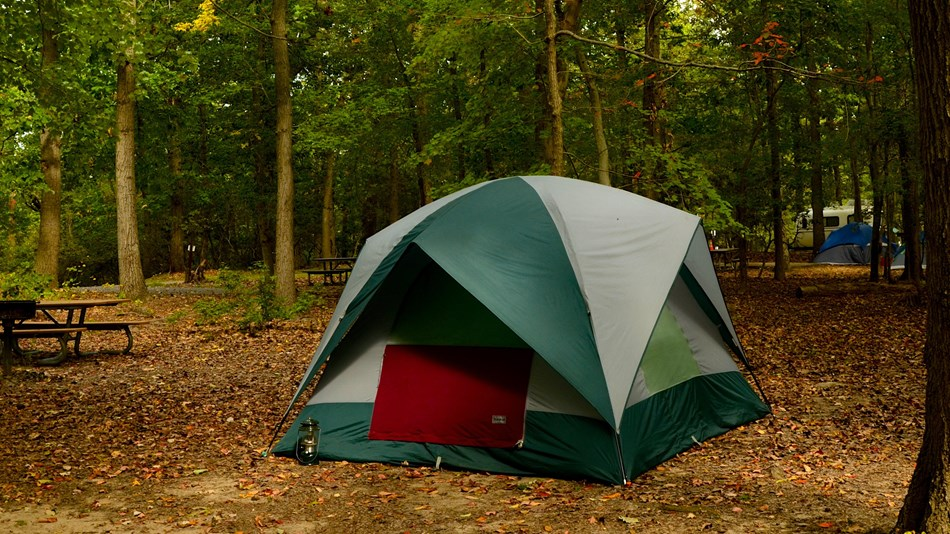a picture of a tent in the Greenbelt Park campground