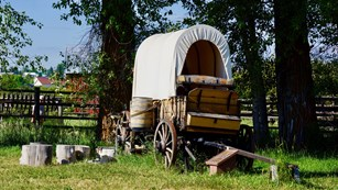 Chuckwagon from the front, view of side with water barrel.  Cottonwood trees shade behind the wagon.