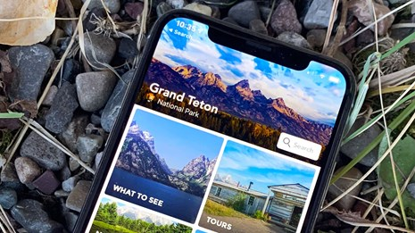 Smartphone with NPS Grand Teton App