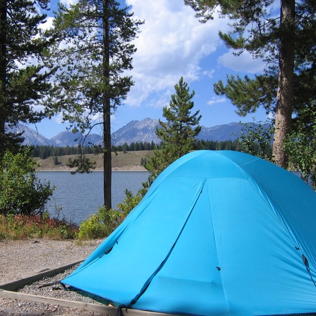 Tent in campground