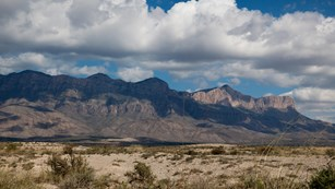A picture of Guadalupe Mountains western escarpment from the Sand dunes.