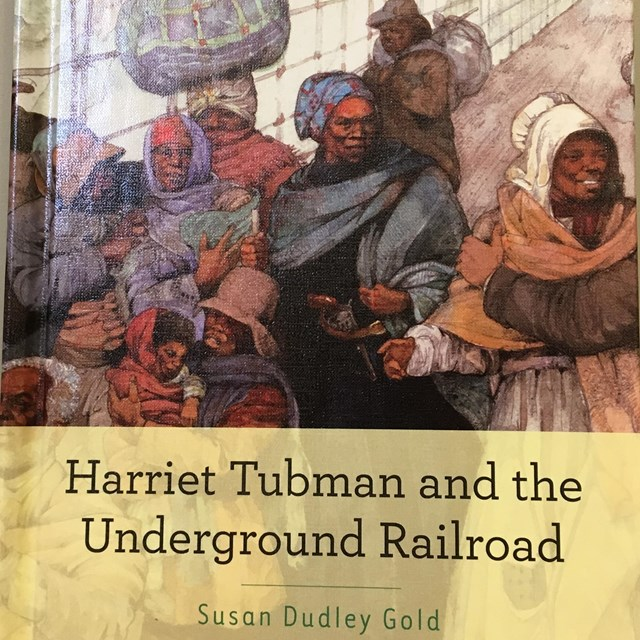 Book cover showing illustration of slaves carrying bundles escaping to freedom