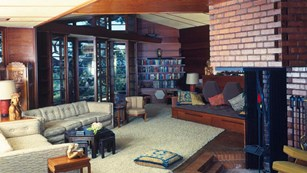 The living room of a mid-century modern home.