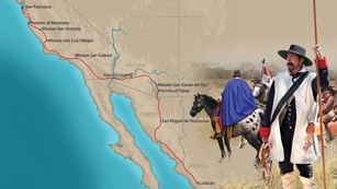 A map of western US and northwest Mexico with an illustration of an 18th century Spanish soldier