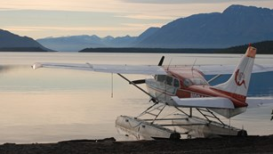 floatplane parked along lakeshore