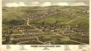 Illustrated 1881 map of Calumet & Hecla property and the Village of Red Jacket