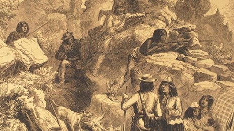 Illustration of Captain Jack's Stronghold during Modoc War