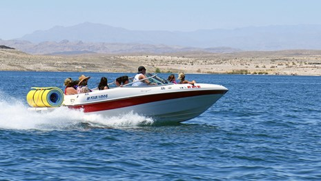 family boating on Lake Mead