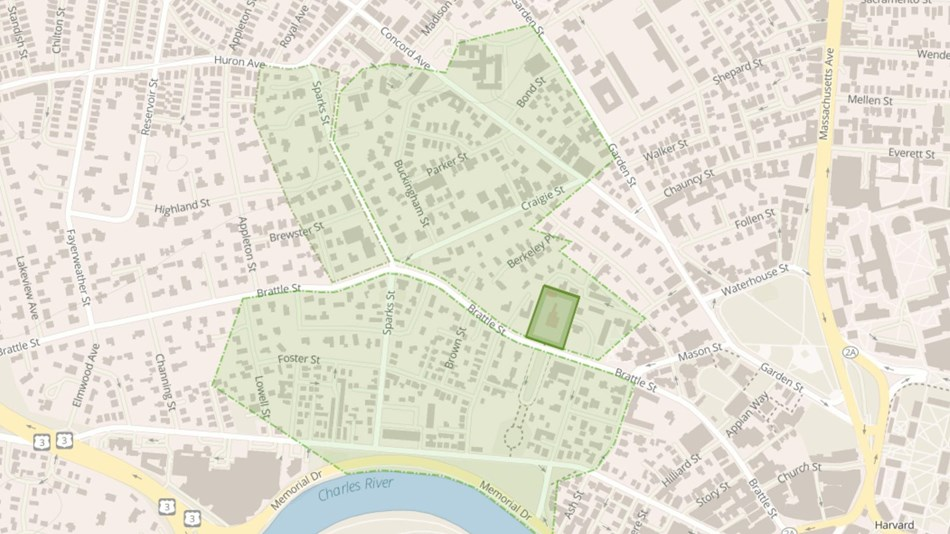 Map of boundary today in bright green, with a larger green shaded area showing extent of the estate