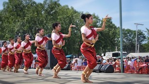 A group of dancers perform at the Southeast Asian Water Festival