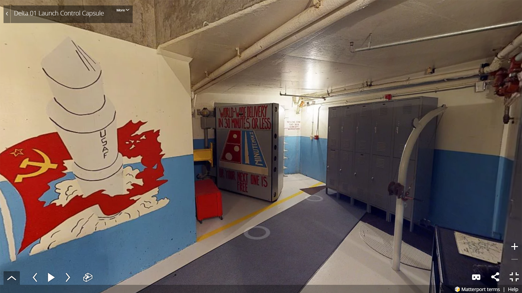 Screenshot of virtual tour showing an underground space