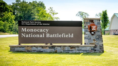 Monocacy National Battlefield entrance sign with NPS arrowhead logo